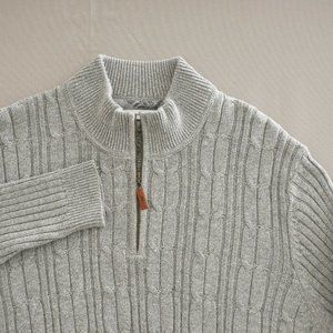 Tommy Bahama Men 1/4 Zip Cable Knit Sweater XL